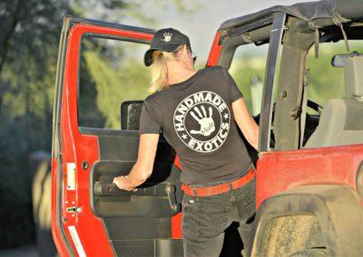 Women's Handmade V-Neck T-Shirt In Black