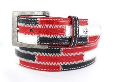 Brick red white black