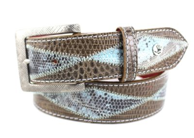 Diamond Blue Newspaper and Taupe Lizard