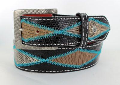 black lizard diamond aqua stitch